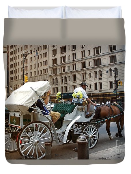 Manhattan Buggy Ride Duvet Cover by Madeline Ellis