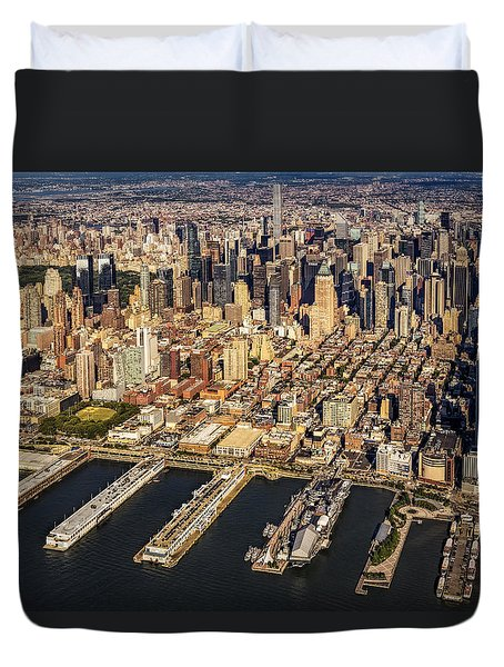 Manhattan New York City Aerial View Duvet Cover by Susan Candelario