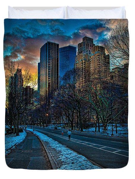 Manhattan Sunset Duvet Cover by Chris Lord