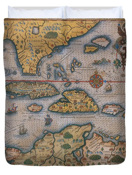 Map Of Gulf Of Mexico And C Duvet Cover by Photo Researchers