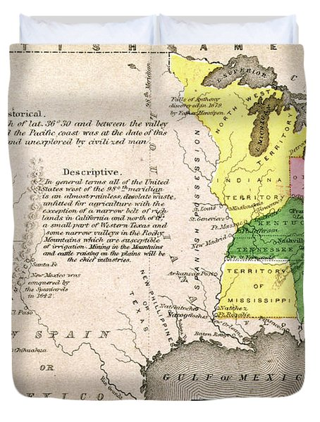Map Of The United States Duvet Cover by John Warner Barber and Henry Hare