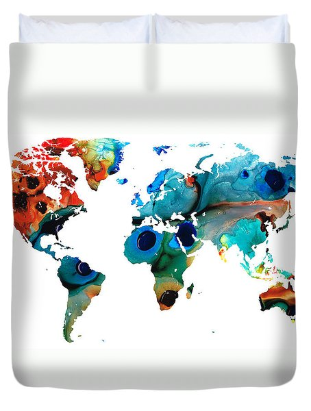 Map Of The World 6 -colorful Abstract Art Duvet Cover by Sharon Cummings