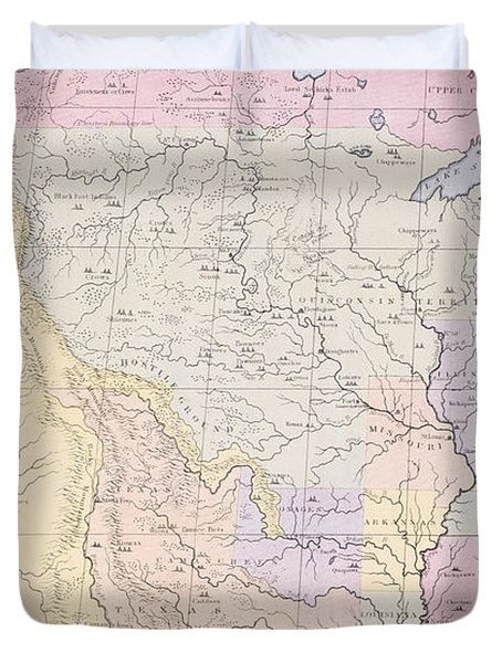 Map Showing The Localities Of The Indian Tribes Of The Us In 1833 Duvet Cover by Thomas L McKenney and James Hall