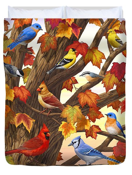 Maple Tree Marvel - Bird Painting Duvet Cover by Crista Forest