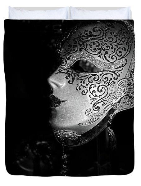 Mardi Gras Mask  B-w Duvet Cover by Christopher Holmes