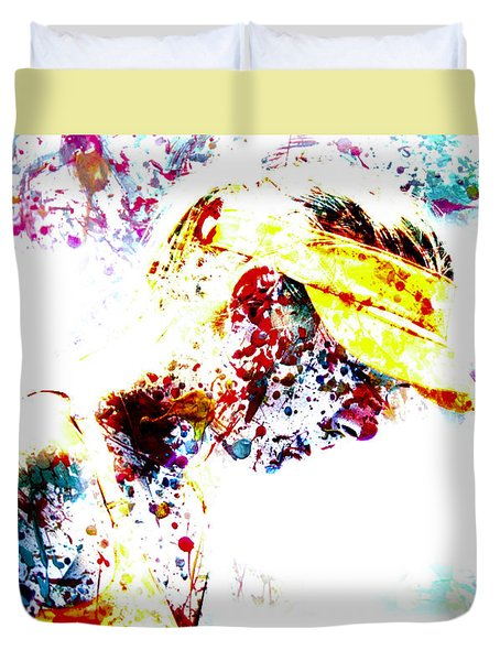 Maria Sharapova Paint Splatter 4p                 Duvet Cover by Brian Reaves