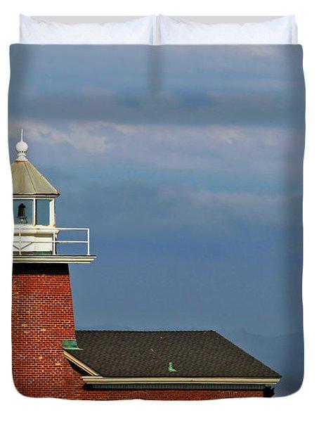 Mark Abbott Memorial Lighthouse California - The World's Oldest Surfing Museum Duvet Cover by Christine Till