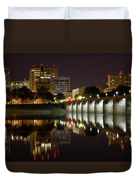 Market Street Bridge Reflections Duvet Cover by Shelley Neff