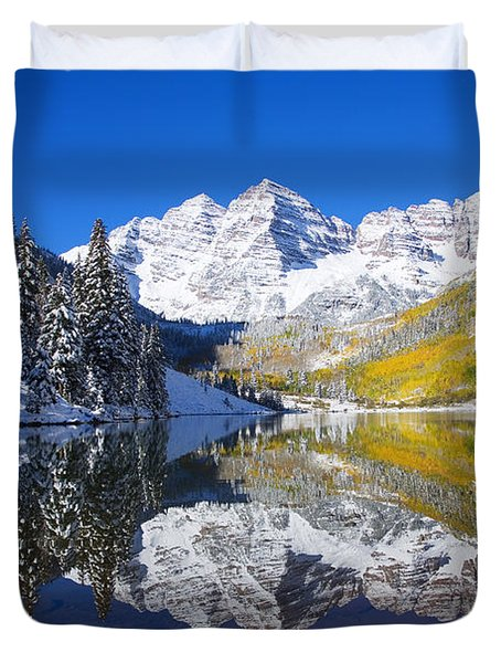 Maroon Lake and Bells 1 Duvet Cover by Ron Dahlquist - Printscapes