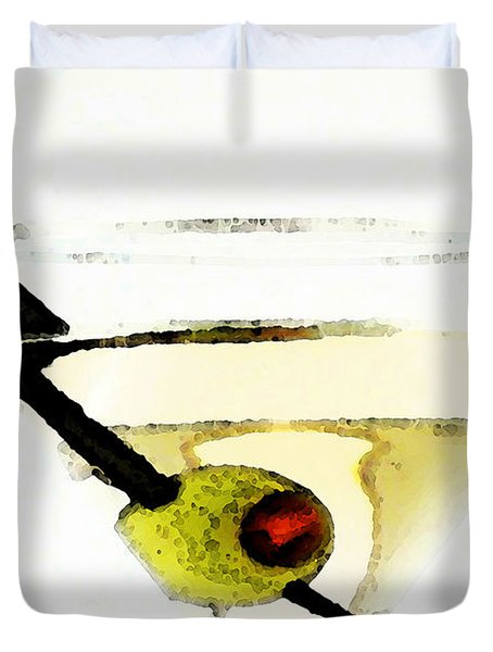 Martini With Green Olive Duvet Cover by Sharon Cummings