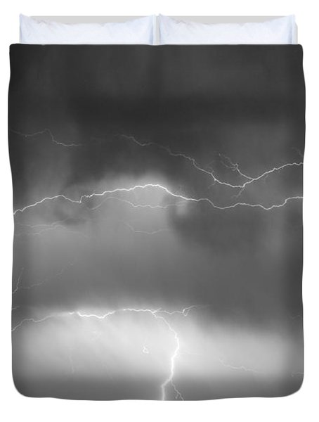 May Showers - Lightning Thunderstorm  Bw 5-10-2011 Duvet Cover by James BO  Insogna