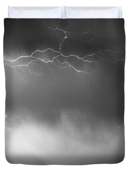 May Showers 2 In Bw - Lightning Thunderstorm 5-10-2011 Boulder C Duvet Cover by James BO  Insogna