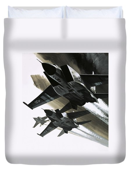 Mcdonnell Douglas F15 Eagle Jet Fighter Duvet Cover by Wilf Hardy