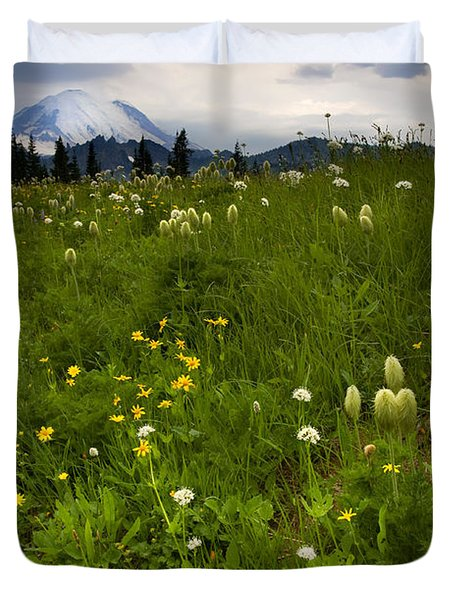 Meadow Beneath The Storm Duvet Cover by Mike  Dawson