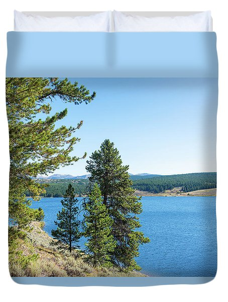 Meadowlark Lake And Trees Duvet Cover by Jess Kraft