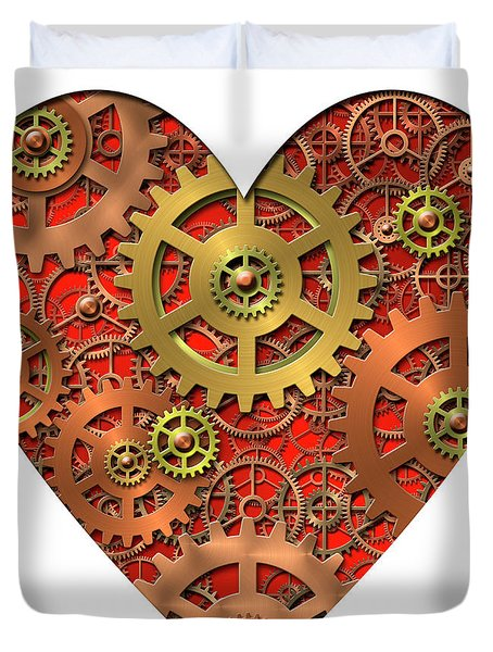 mechanical heart Duvet Cover by Michal Boubin