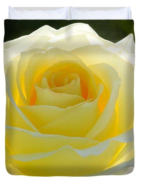 Mellow Yellow Rose Duvet Cover by Sabrina L Ryan
