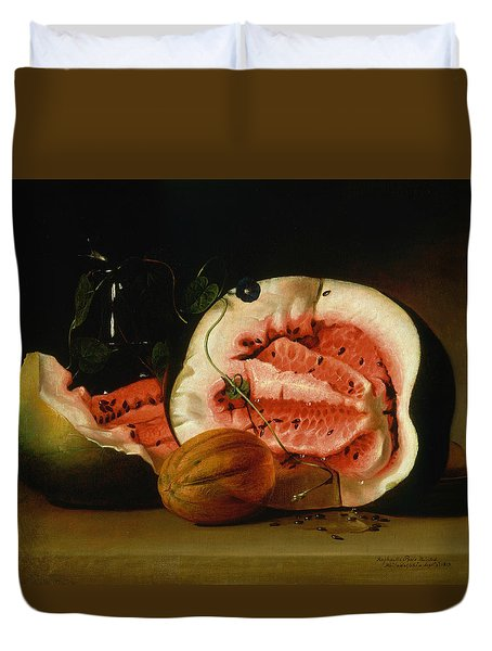 Melons And Morning Glories  Duvet Cover by Raphaelle Peale