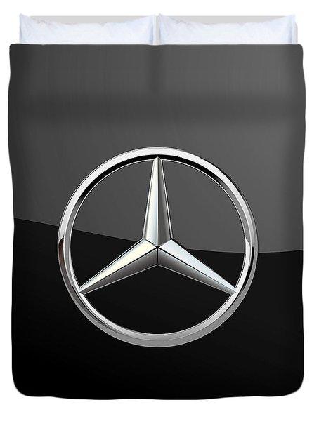 Mercedes-benz - 3d Badge On Black Duvet Cover by Serge Averbukh