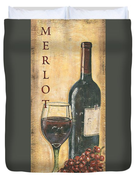 Merlot Wine And Grapes Duvet Cover by Debbie DeWitt