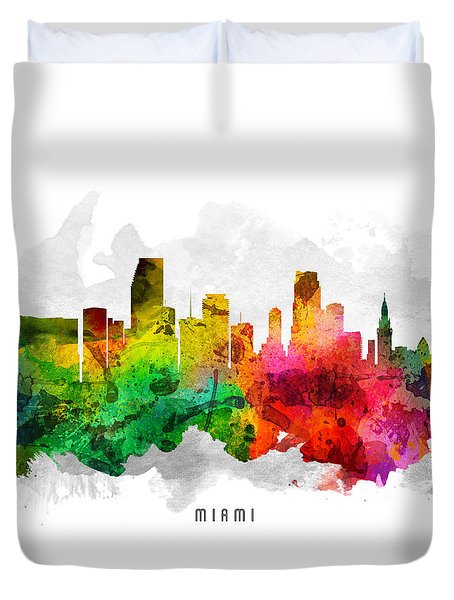 Miami Florida Cityscape 12 Duvet Cover by Aged Pixel