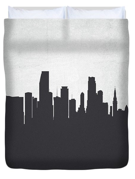 Miami Florida Cityscape 19 Duvet Cover by Aged Pixel