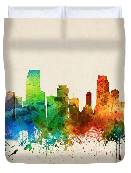 Miami Florida Skyline 05 Duvet Cover by Aged Pixel