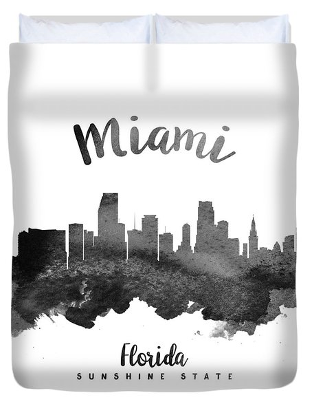 Miami Florida Skyline 18 Duvet Cover by Aged Pixel