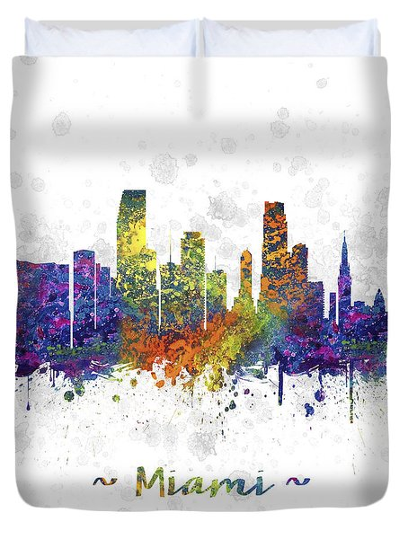 Miami Florida Skyline Color 03sq Duvet Cover by Aged Pixel