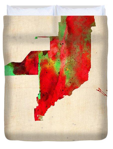 Miami Watercolor Map Duvet Cover by Naxart Studio