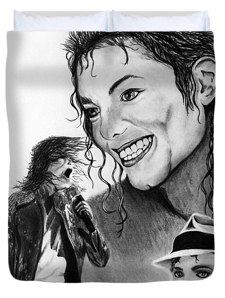 Michael Jackson Faces to Remember Duvet Cover by Peter Piatt