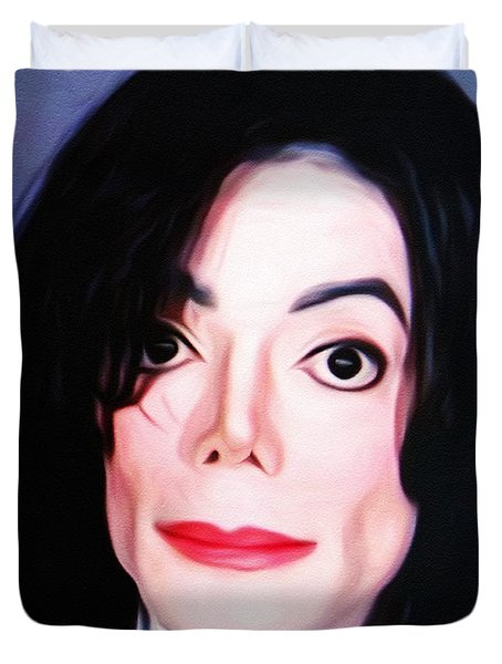Michael Jackson Mugshot Duvet Cover by Bill Cannon