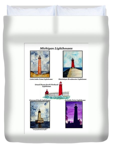 Michigan Lighthouses Collage Duvet Cover by Michael Vigliotti