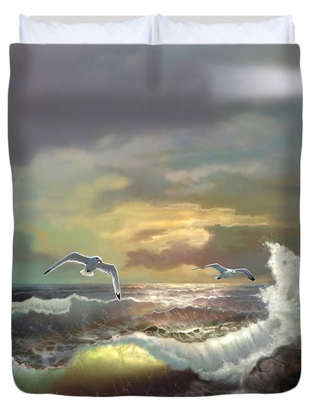 Michigan Seul Choix Point Lighthouse With An Angry Sea Duvet Cover by Regina Femrite