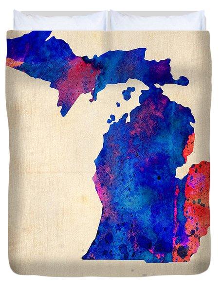 Michigan Watercolor Map Duvet Cover by Naxart Studio