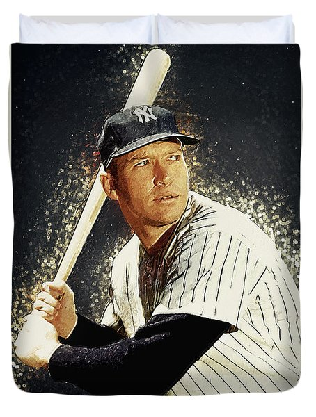 Mickey Mantle Duvet Cover by Taylan Soyturk