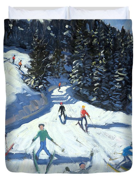 Mid-morning On The Piste Duvet Cover by Andrew Macara
