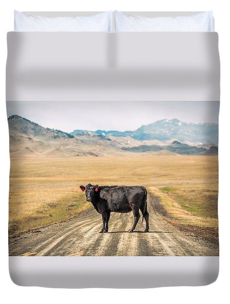 Middle Of The Road Duvet Cover by Todd Klassy