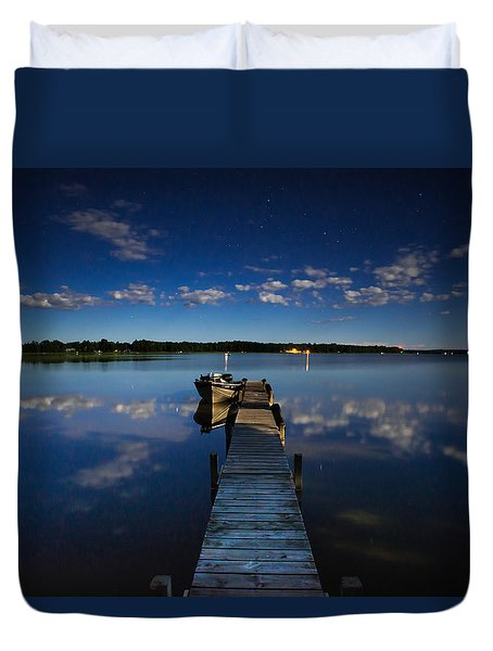 Midnight At Shady Shore On Moose Lake Minnesota Duvet Cover by Alex Blondeau