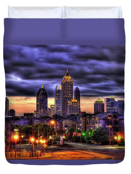 Midtown Atlanta Towers Over Atlantic Commons Duvet Cover by Reid Callaway