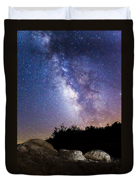 Milky Way Over A Western Diamondback Rattlesnake Duvet Cover by Chuck Brown
