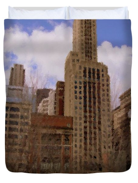 Millenium Park And Bench 1 Duvet Cover by Anita Burgermeister