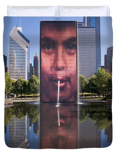 Millennium Park Fountain and Chicago Skyline Duvet Cover by Steve Gadomski