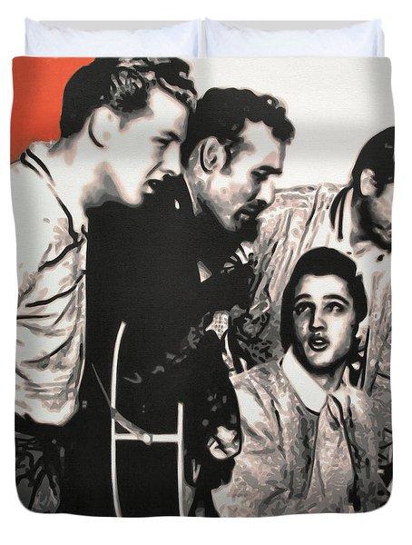 Million Dollar Quartet Duvet Cover by Luis Ludzska