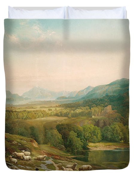 Minding The Flock Duvet Cover by Thomas Moran