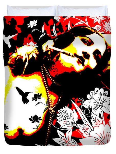 Mischievious Hummingbird Duvet Cover by Chris Andruskiewicz