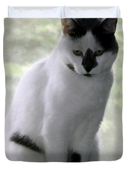 Miss Jerrie Cat With Watercolor Effect Duvet Cover by Rose Santuci-Sofranko