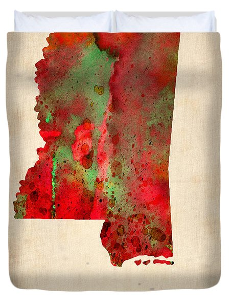 Mississippi Watercolor Map Duvet Cover by Naxart Studio