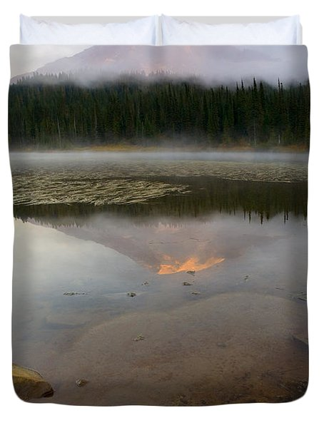 Misty Alpenglow Duvet Cover by Mike  Dawson