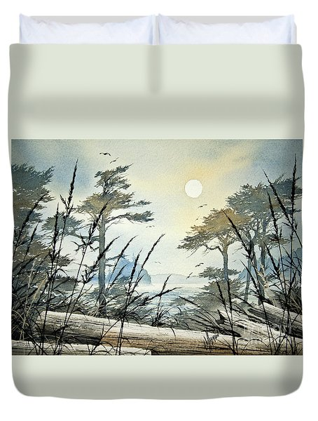 Misty Island Dawn Duvet Cover by James Williamson